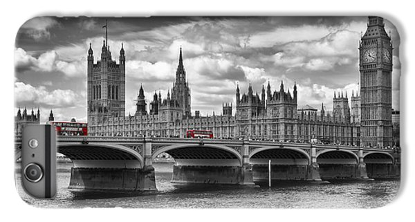 London - Houses Of Parliament And Red Buses IPhone 6 Plus Case by Melanie Viola