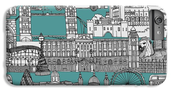 Tower Of London iPhone 6 Plus Case - London Toile Blue by Sharon Turner