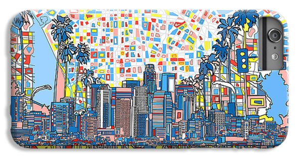 Los Angeles Skyline Abstract 3 IPhone 6 Plus Case by Bekim Art