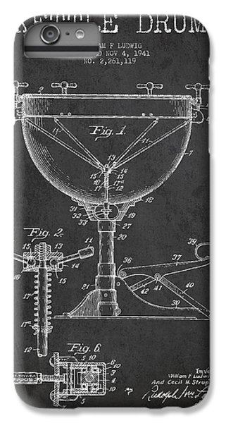 Folk Art iPhone 6 Plus Case - Ludwig Kettle Drum Drum Patent Drawing From 1941 - Dark by Aged Pixel