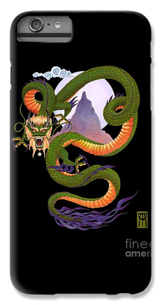 Dragon iPhone 6 Plus Case - Lunar Chinese Dragon On Black by Melissa A Benson