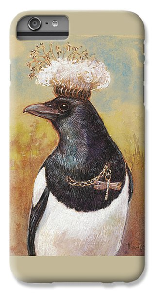 Magpie In A Milkweed Crown IPhone 6 Plus Case by Tracie Thompson