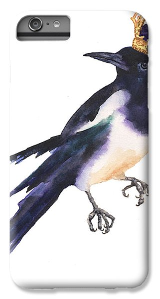 Magpie Watercolor IPhone 6 Plus Case by Alison Fennell