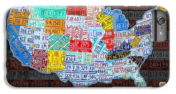 Landmarks iPhone 6 Plus Case - Map Of The United States In Vintage License Plates On American Flag by Design Turnpike