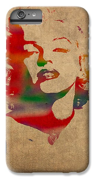Marilyn Monroe Watercolor Portrait On Worn Distressed Canvas IPhone 6 Plus Case by Design Turnpike