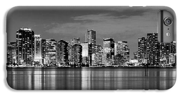 Miami Skyline iPhone 6 Plus Case - Miami Skyline At Dusk Black And White Bw Panorama by Jon Holiday