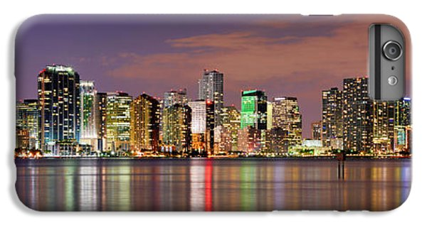 Miami iPhone 6 Plus Case - Miami Skyline At Dusk Sunset Panorama by Jon Holiday