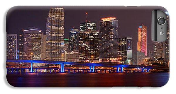 Miami Skyline iPhone 6 Plus Case - Miami Skyline At Night Panorama Color by Jon Holiday