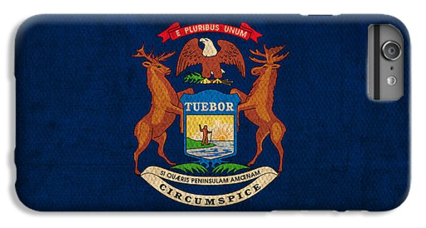 Michigan State Flag Art On Worn Canvas IPhone 6 Plus Case by Design Turnpike