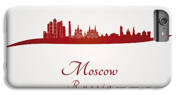 Moscow Skyline In Red IPhone 6 Plus Case by Pablo Romero