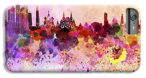 Moscow Skyline In Watercolor Background IPhone 6 Plus Case