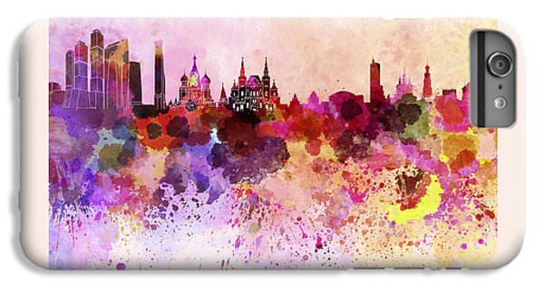 Moscow Skyline In Watercolor Background IPhone 6 Plus Case by Pablo Romero