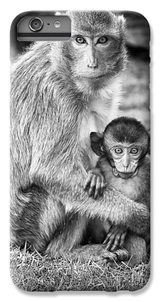 Wildlife iPhone 6 Plus Case - Mother And Baby Monkey Black And White by Adam Romanowicz
