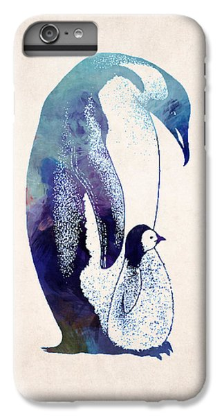 Mother And Baby Penguin IPhone 6 Plus Case by World Art Prints And Designs