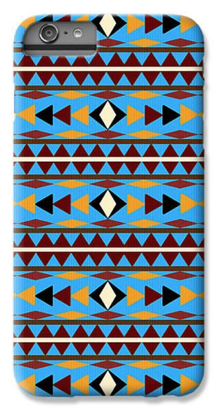 Navajo Blue Pattern IPhone 6 Plus Case by Christina Rollo