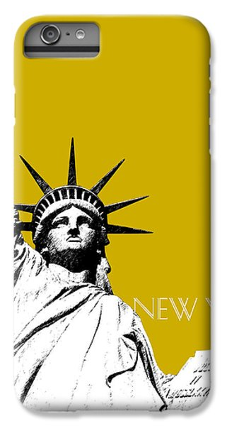 New York Skyline Statue Of Liberty - Gold IPhone 6 Plus Case by DB Artist