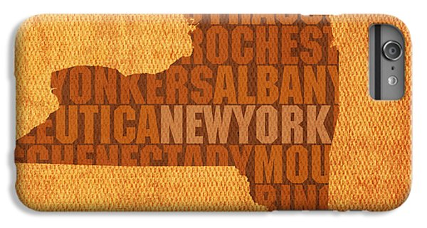 City Scenes iPhone 6 Plus Case - New York Word Art State Map On Canvas by Design Turnpike
