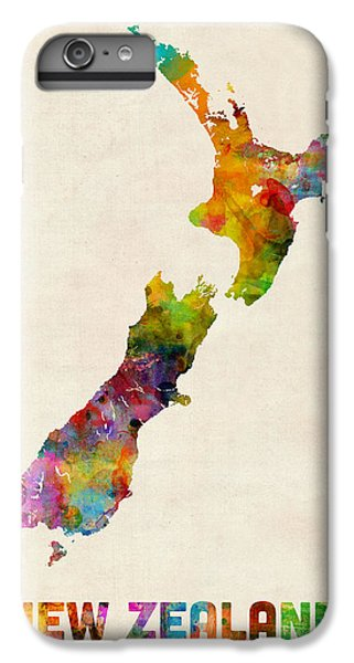 New Zealand Watercolor Map IPhone 6 Plus Case by Michael Tompsett