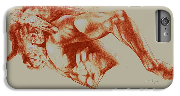 North American Minotaur Red Sketch IPhone 6 Plus Case by Derrick Higgins