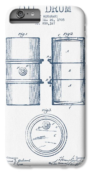 Drum iPhone 6 Plus Case - Oil Drum Patent Drawing From 1905 -  Blue Ink by Aged Pixel