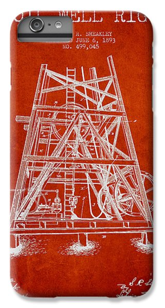 Oil Well Rig Patent From 1893 - Red IPhone 6 Plus Case by Aged Pixel