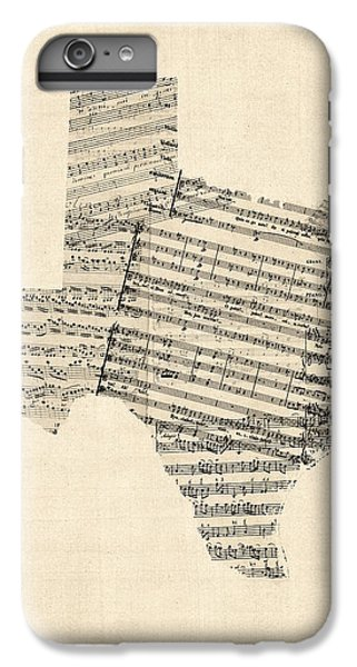 Old Sheet Music Map Of Texas IPhone 6 Plus Case by Michael Tompsett