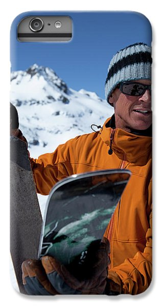 Knit Hat iPhone 6 Plus Case - One Backcountry Skier Putting Skins by Trevor Clark