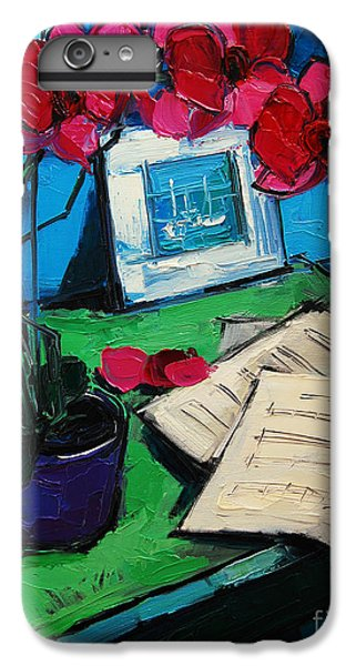 Orchid And Piano Sheets IPhone 6 Plus Case by Mona Edulesco