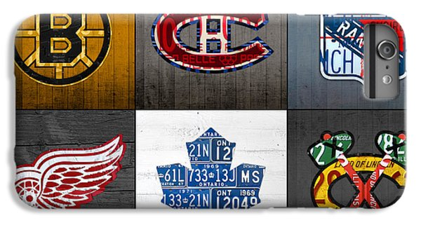 Original Six Hockey Team Retro Logo Vintage Recycled License Plate Art IPhone 6 Plus Case