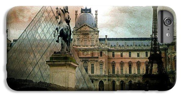 Paris Louvre Museum Pyramid Architecture - Eiffel Tower Photo Montage Of Paris Landmarks IPhone 6 Plus Case