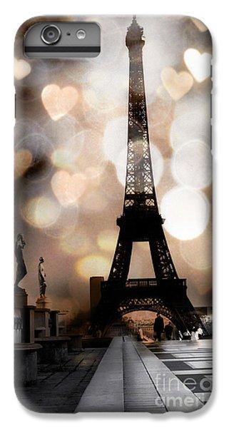 Paris Surreal Fantasy Sepia Black Eiffel Tower Bokeh Hearts And Circles - Paris Eiffel Tower Hearts  IPhone 6 Plus Case