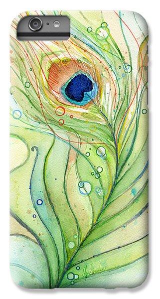 Peacock Feather Watercolor IPhone 6 Plus Case by Olga Shvartsur