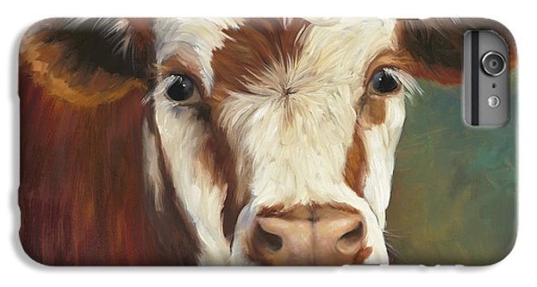 Cow iPhone 6 Plus Case - Pearl Iv Cow Painting by Cheri Wollenberg