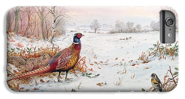 Pheasant And Bramblefinch In The Snow IPhone 6 Plus Case by Carl Donner