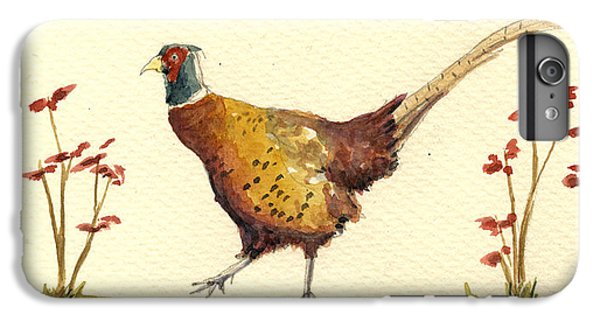 Pheasant iPhone 6 Plus Case - Pheasant In The Flowers by Juan  Bosco