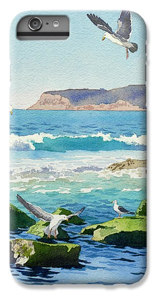 Pacific Ocean iPhone 6 Plus Case - Point Loma Rocks Waves And Seagulls by Mary Helmreich