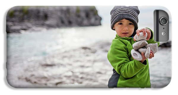 Knit Hat iPhone 6 Plus Case - Portrait Of Little Boy Standing At Lake by Steve Glass