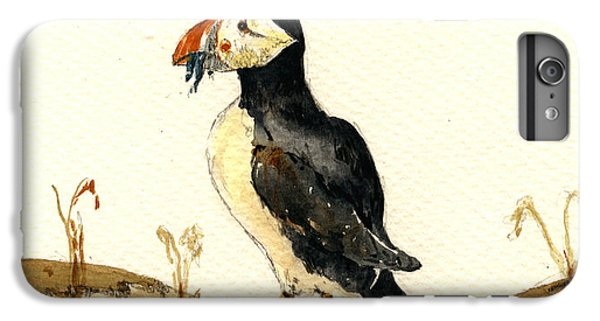 Puffin iPhone 6 Plus Case - Puffin With Fishes by Juan  Bosco