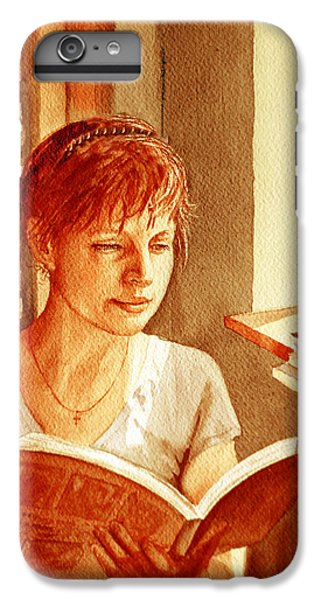 IPhone 6 Plus Case featuring the painting Reading A Book Vintage Style by Irina Sztukowski