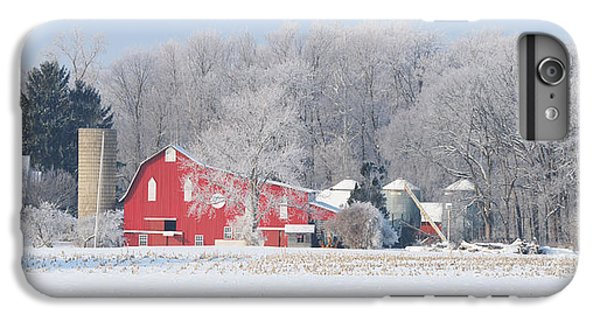 Whitehouse iPhone 6 Plus Case - Red Barn Frosty Morning Panorama1 by Jack Schultz