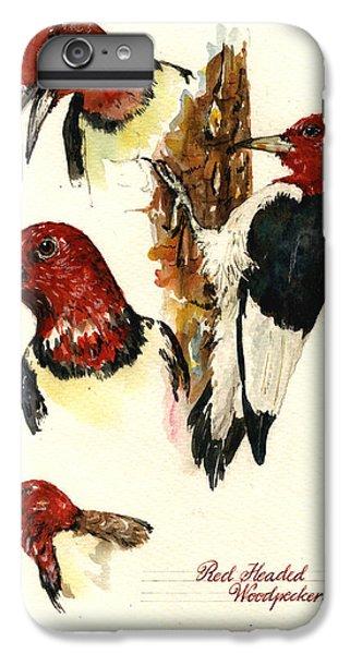 Woodpecker iPhone 6 Plus Case - Red Headed Woodpecker Bird by Juan  Bosco