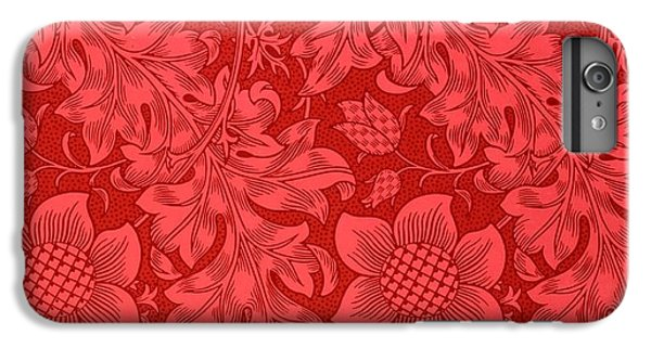 Nature iPhone 6 Plus Case - Red Sunflower Wallpaper Design, 1879 by William Morris