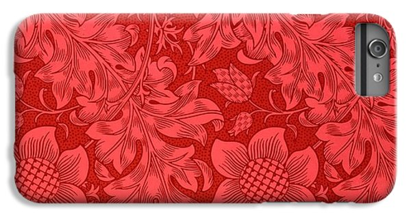 Sunflower iPhone 6 Plus Case - Red Sunflower Wallpaper Design, 1879 by William Morris