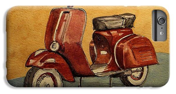 Motorcycle iPhone 6 Plus Case - Red Vespa by Juan  Bosco
