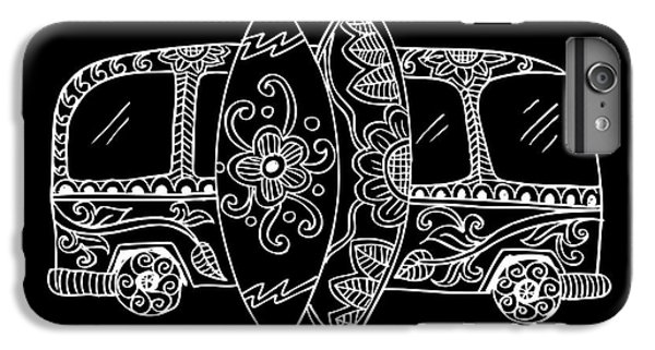 Truck iPhone 6 Plus Case - Retro Bus With Surf Boards In Zentangle by Handini atmodiwiryo