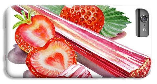 IPhone 6 Plus Case featuring the painting Rhubarb Strawberry by Irina Sztukowski