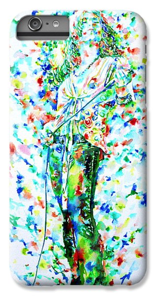 Robert Plant Singing - Watercolor Portrait IPhone 6 Plus Case by Fabrizio Cassetta