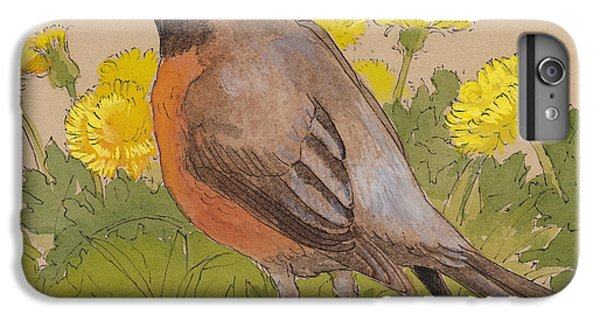 Robin In The Dandelions IPhone 6 Plus Case