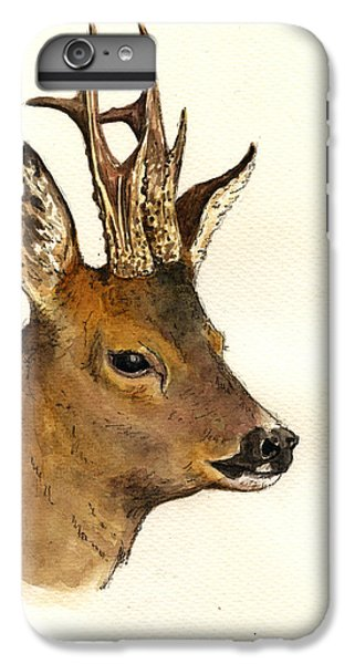 Deer iPhone 6 Plus Case - Roe Deer Head Study by Juan  Bosco