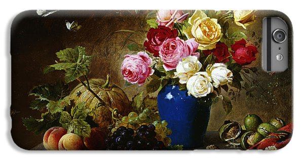 Roses In A Vase Peaches Nuts And A Melon On A Marbled Ledge IPhone 6 Plus Case by Olaf August Hermansen
